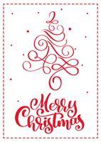 Scandinavische de groetkaart van Kerstmis met de vrolijke van letters voorziende teksten van de Kerstmiskalligrafie. Hand getrokken vectorillustratie van vintage kerstboom. Geïsoleerde objecten