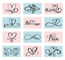 set van 12 geliefden hart. Handgemaakte vector kalligrafie. Decor voor wenskaart voor Valentijnsdag, mok, foto overlays, t-shirt afdrukken, flyer, posterontwerp