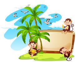 Frame ontwerp met apen en kokospalmen vector