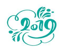 Handgeschreven vector kalligrafie tekst 2019. Scandinavische hand getrokken Nieuwjaar en Kerst belettering nummer 2019. Illustratie voor wenskaart, uitnodiging, vakantie tag geïsoleerd op witte achtergrond