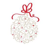 Kerst Skandinavische wenskaart met kalligrafie Hand getrokken vector vintage Christmas bell. Geïsoleerde illustratie objecten