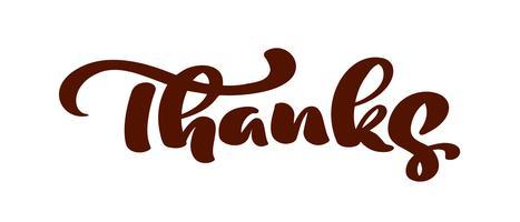 Vector hand getekende kalligrafie tekst Bedankt. Elegante moderne handgeschreven met dankzegging citaat. Bedankt inkt illustratie. Typografie poster op witte achtergrond. Voor kaarten, uitnodigingen, afdrukken