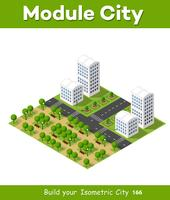 Isometrisch stadsconcept van stadsinfrastructuurzaken vector
