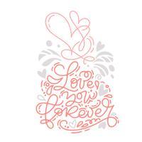 Vector monoline kalligrafie zin Love You Forever met Valentine-logo. Valentijnsdag Hand getrokken belettering. Hart vakantie schets doodle ontwerp kaart. Geïsoleerde illustratie decor voor web, bruiloft en print