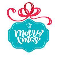 Turquoise gestileerde geschenkdoos met kalligrafie vrolijke kerst tekst met strikjes. Vlakke stijl vectorillustratie op witte achtergrond vector