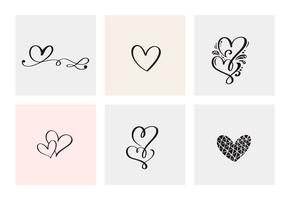 Set van zes vintage Vector Valentijnsdag Hand getrokken kalligrafische hart. Kalligrafie belettering illustratie. Vakantie ontwerp valentijn. Icoon liefdes decor voor web, bruiloft en print. Geïsoleerd