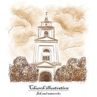 Kerk, struik, wolk - watecolor en inkt.