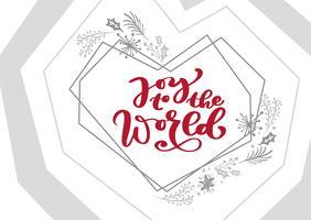 Vreugde aan de wereld Kalligrafie vector Kerst tekst in xmas Skandinavische elementen frame. Belettering ontwerp. Creatieve typografie voor de Giftaffiche van de vakantiegroet