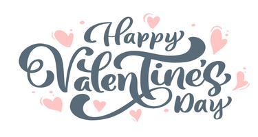 Kalligrafie zin Happy Valentine's Day met hart. Vector Valentijnsdag Hand getrokken belettering. Heart Holiday sketch doodle Ontwerp valentijn kaart. liefdes decor voor web, bruiloft en print. Geïsoleerde illustratie