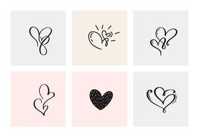 Set van zes vintage Vector Valentijnsdag Hand getekende kalligrafische harten. Kalligrafie belettering illustratie. Vakantie ontwerp valentijn. Icoon liefdes decor voor web, bruiloft en print. Geïsoleerd
