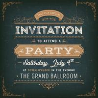 Vintage partij uitnodigingskaart op schoolbord vector