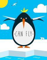 Dikke pinguïn wil vliegen vector