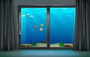 Interieur onderwater hotel vector