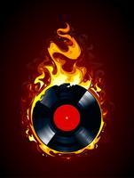 Vinylplaat branden vector