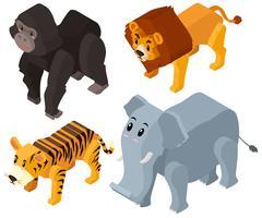 Wilde dieren in 3D-ontwerp