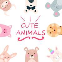 Stel dieren - panda, neushoorn, leeuw, beer, konijn, eenhoorn, varken, muis, koe. vector