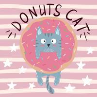 Leuke, koele, mooie, grappige, gekke, mooie kat, pot met doughnut vector