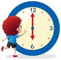 Jongen het vertellen tijd op blauwe klok vector