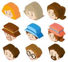 3D-ontwerp voor gezichten van vrouwen en mannen