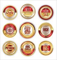 Gouden verkoop etiketten retro vintage design collectie vector