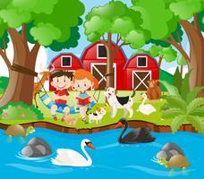Boerderijscène met kinderen die door de rivier lezen