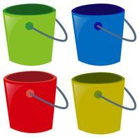 Vier emmers in verschillende kleuren
