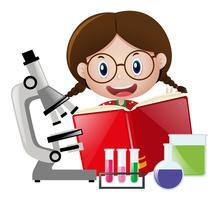Meisje en verschillende schoolapparatuur vector