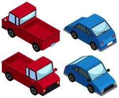 3D-ontwerp voor vrachtwagens en auto's vector