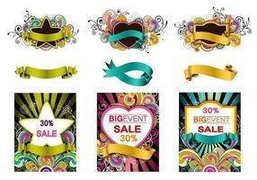 Kleurrijke Swirly Vector Banner Pack