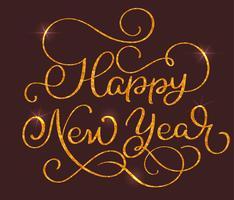 Gelukkige Nieuwjaarstekst op bruine achtergrond. Hand getrokken kalligrafie belettering vectorillustratie EPS10 vector