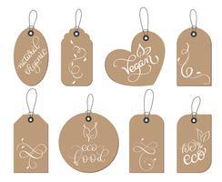 collectie set van kraftpapier gezond veganistisch, biologisch voedsel tags label. Kalligrafie belettering hand gemaakt tekst. Vector illustratie EPS10