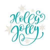 Holly Jolly kalligrafie belettering kerst zin. Hand getrokken letters. vector tekst voor ontwerp wenskaarten foto overlays
