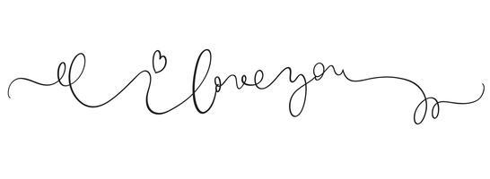 Ik hou van je vector vintage tekst op witte achtergrond. Kalligrafie belettering illustratie EPS10
