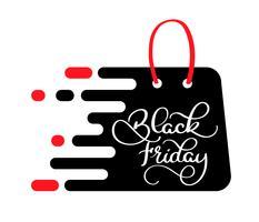 Black Friday-verkoopinschrijving op het pakket, malplaatje voor uw banner of affiche. Verkoop en korting. Vector illustratie