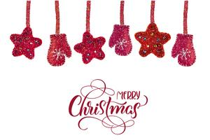 rode kerst speelgoed sterren en wanten niet-witte achtergrond en tekst Merry Christmas. Hand getrokken belettering vectorillustratie EPS10