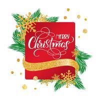 Kalligrafische Merry Christmas belettering versierde tekst op rode frame achtergrond met gouden sneeuwvlokken. Vakantiegevoel vector