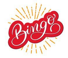 Bingo woord. Mooie wenskaart bekrast kalligrafie. Hand getrokken uitnodiging T-shirt print ontwerp. Met de hand geschreven moderne borstel die witte achtergrond van letters voorzien vector
