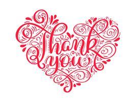 teksten Dank u in de vorm van een hart handgeschreven kalligrafie letters. handgemaakte vectorillustratie. Leuke penseelinkt typografie voor foto-overlays, t-shirt print, flyer, posterontwerp vector