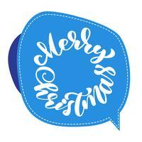 tekst Merry Christmas handgeschreven kalligrafie letters op de sticker. handgemaakte vectorillustratie. Leuke penseelinkt typografie voor foto-overlays, t-shirt print, flyer, posterontwerp vector