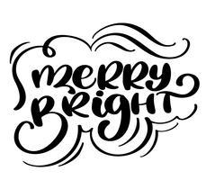 Kersttekst Vrolijk en Helder handgeschreven kalligrafie letters. Leuke penseelinkt typografie voor foto-overlays, t-shirt print, flyer, posterontwerp