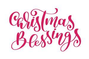 tekst Christmas Blessings handgeschreven kalligrafie letters. handgemaakte vectorillustratie. Leuke penseelinkt typografie voor foto-overlays, t-shirt print, flyer, posterontwerp vector