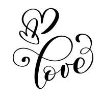 handgeschreven inscriptie LIEFDE en hart Happy Valentines day-kaart, romantisch citaat voor ontwerp wenskaarten, vakantie-uitnodigingen