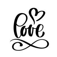 handgeschreven inscriptie LIEFDE en hart Happy Valentijnsdag kaart, romantische citaat voor ontwerp wenskaarten, tatoeage, vakantie-uitnodigingen