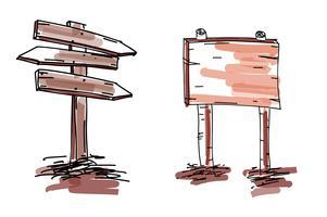 Hand getrokken doodle houten borden en pijlen instellen. Vector illustratie EPS