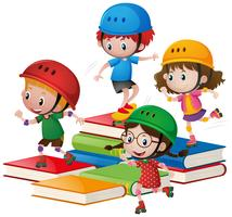Kinderen rolschaatsen op grote boeken
