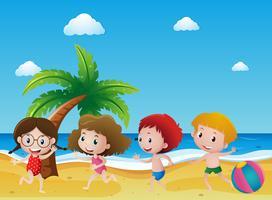 Scène met vier kinderen die op het zand spelen vector