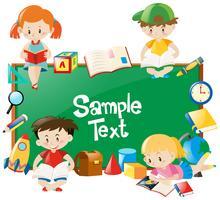 Frameontwerp met kinderen die boeken lezen vector