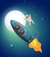 Een raket en een astronaut in de ruimte vector