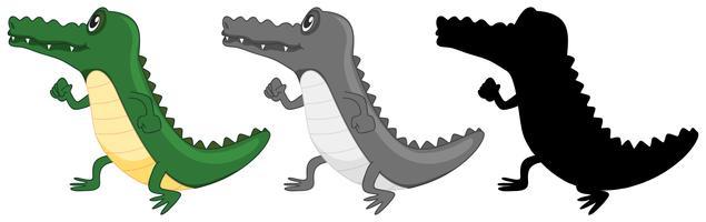 Set van krokodillen lopen vector