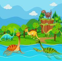 Veel dinosaurussen in het meer